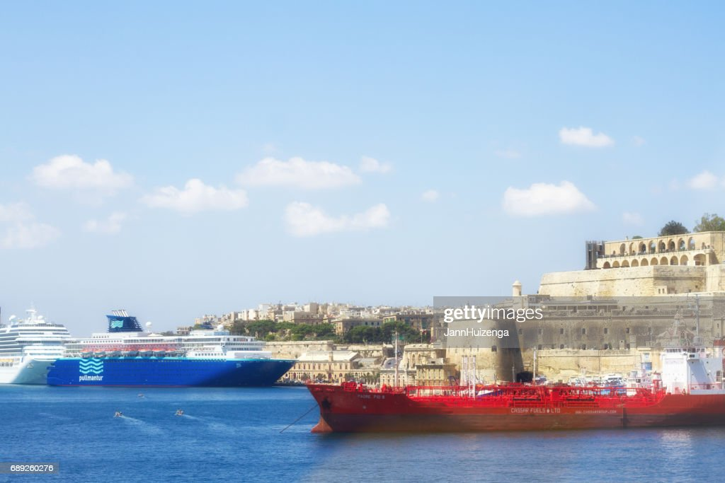 Valletta, Malta: Red and Blue Ships in Valletta's Grand Harbor : Stock Photo