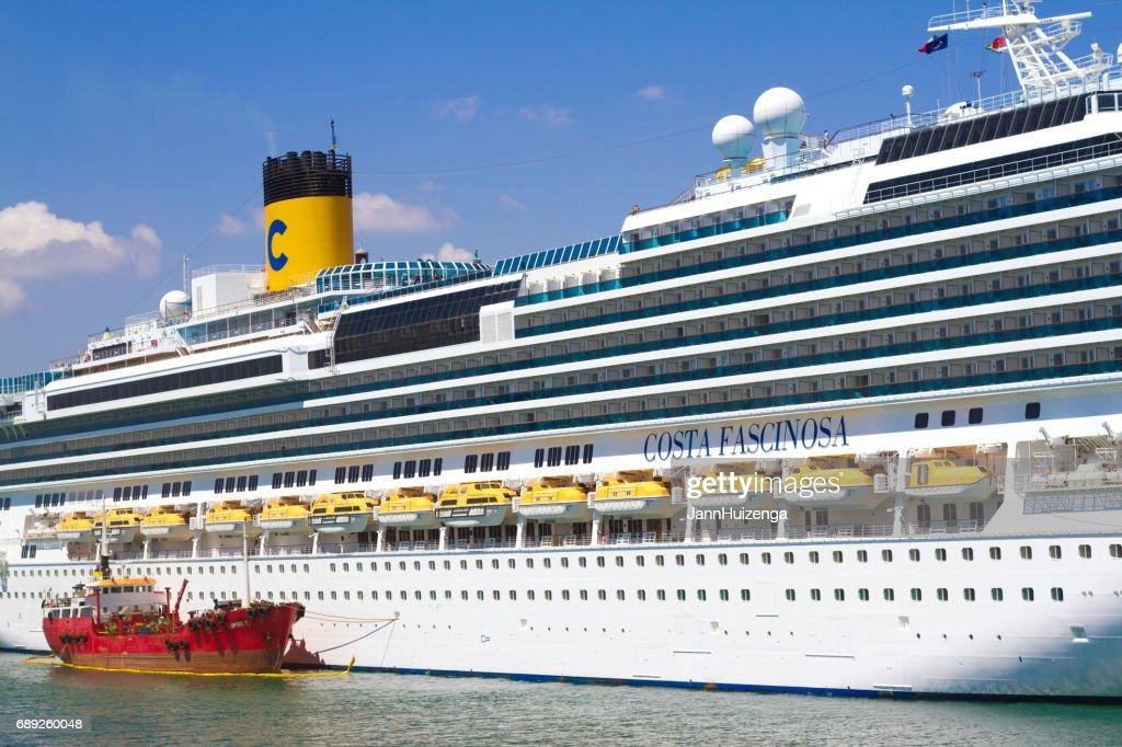 Valletta, Malta: White Cruise Ship in Valletta's Harbor (Close-Up) : Stock Photo