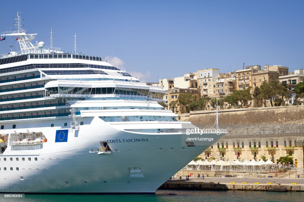 Valletta, Malta: White Cruise Ship in Valletta's Harbor (Close-Up) : Stock Photo