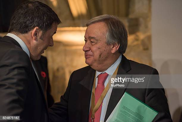 Valletta, Malta.12/11/15: Italian Prime Minister Matteo Renzi chat with Antonio Gueterres At the two-day Malta summit,which will build on existing...