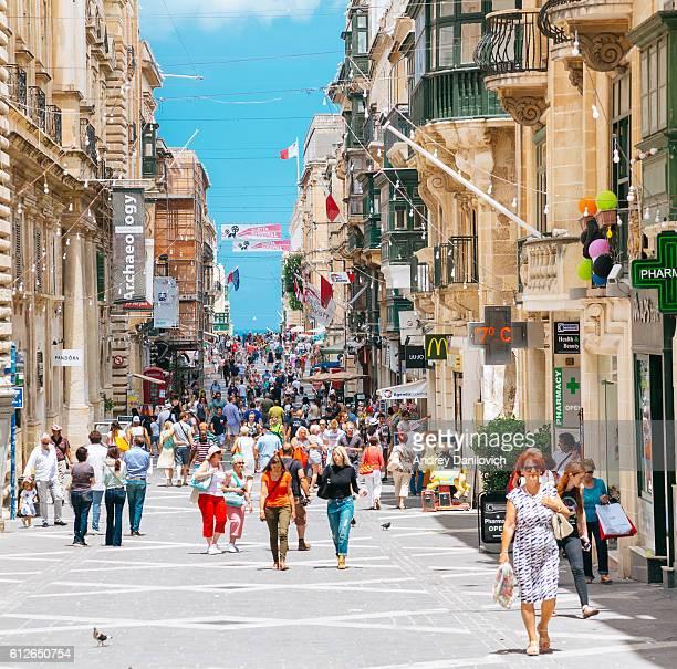 Valletta narrow street in hot summer day, Malta