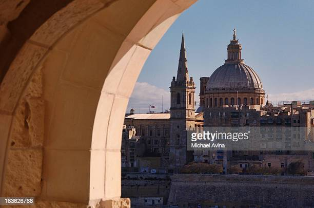 valletta viewed from manoel island - valletta stock pictures, royalty-free photos & images