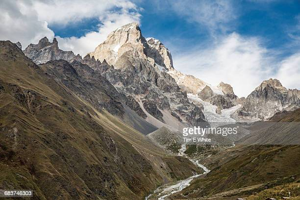 Valley and mountain landscape, Ushba, Svaneti, Georgia