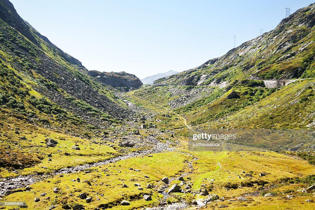 Valley below pass of St. Gottard : Stock Photo