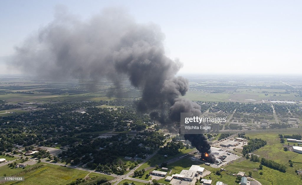 Valley Center Is Covered In A Plume Of Smoke As Storage Tanks Burn At Barton Solvents