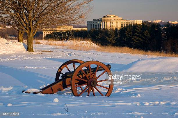 valley forge at winter sunrise - american troops at valley forge stock pictures, royalty-free photos & images