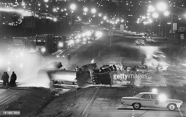 MAR 8 1973 MAY 9 1973 Valley Highway blocked after accident A tanker truck that was carrying 7500 gallons of gasoline blocks the southbound Valley...