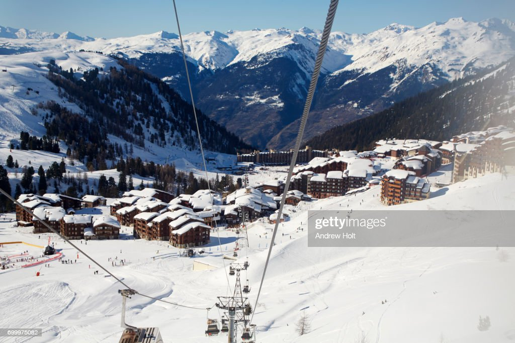 A valley in Plagne Bellecôte, La Plagne ski resort area, France. : Stock Photo