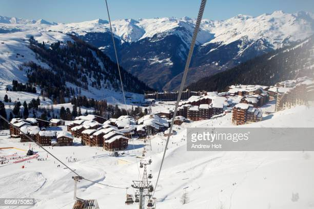 a valley in plagne bellecôte, la plagne ski resort area, france. - la plagne stock photos and pictures