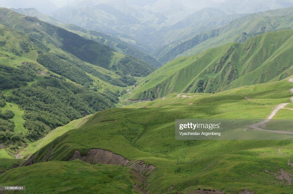 Valley in the Caucasus Mountains, Khevsureti, Georgia : Stock Photo