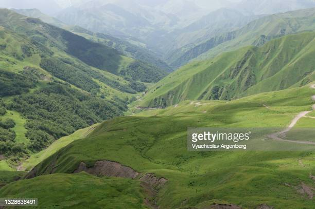 valley in the caucasus mountains, khevsureti, georgia - argenberg stock pictures, royalty-free photos & images