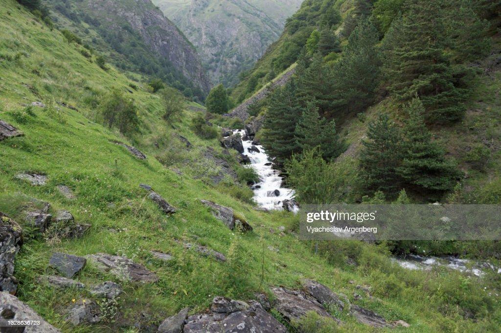 Valley in the Caucasus Mountains, Mountain stream, Georgia : Stock Photo