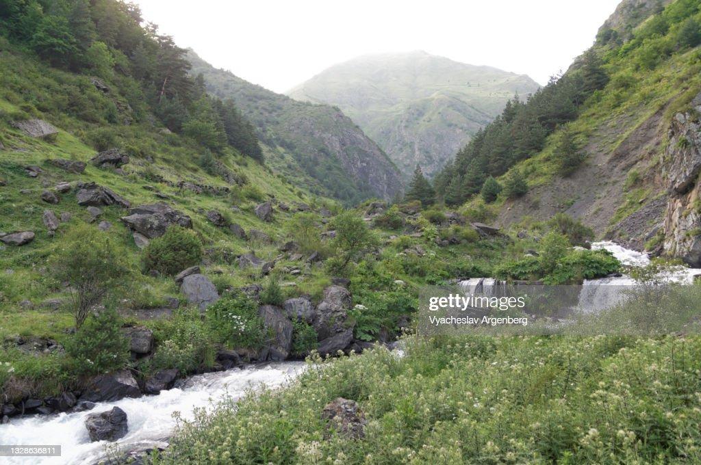 Valley in the Caucasus Mountains, Mountain stream, Khevsureti, Georgia : Stock Photo
