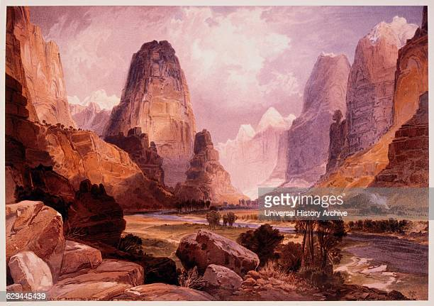 Valley of Babbling Waters Southern Utah USA Chromolithograph from Painting by Thomas Moran 1876