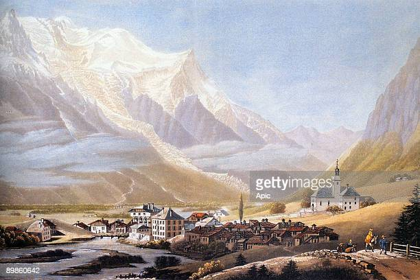 Valley of Chamonix and MontBlanc massif engraving by Jean Dubois c 1810