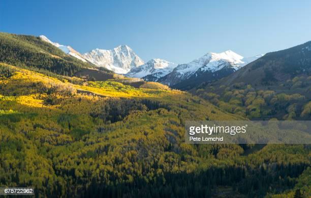 valley of gold capital mountain, colorado autumn - san juan mountains stock photos and pictures