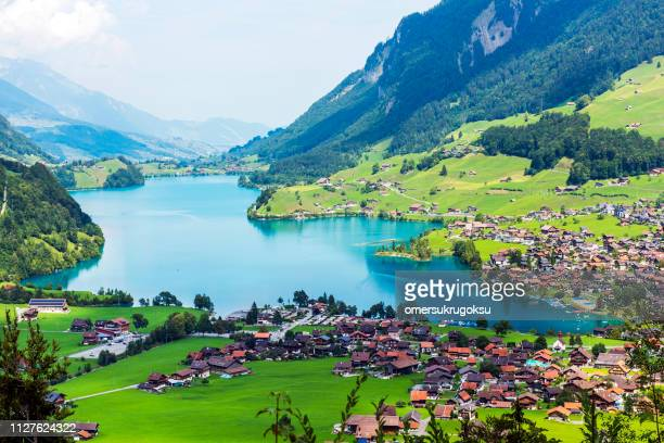 valley of lake lungern or lungerersee in obwalden, switzerland - switzerland stock pictures, royalty-free photos & images