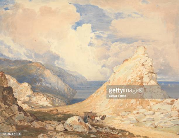 Valley of Rocks, Lynton, North Devon, Francis Oliver Finch, 1802–1862, British, undated, Watercolor, with pen, in brown ink, gouache, graphite and...