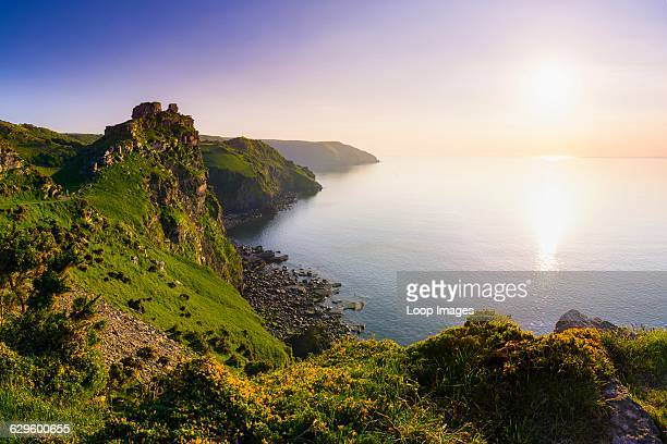 Valley of the Rocks and Wringcliff Bay at sunset in Exmoor National Park, Lynton, England.