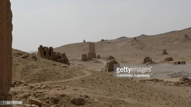valley of the tombs, 1st century ad, palmyra, syrian desert - 遺跡 ストックフォトと画像