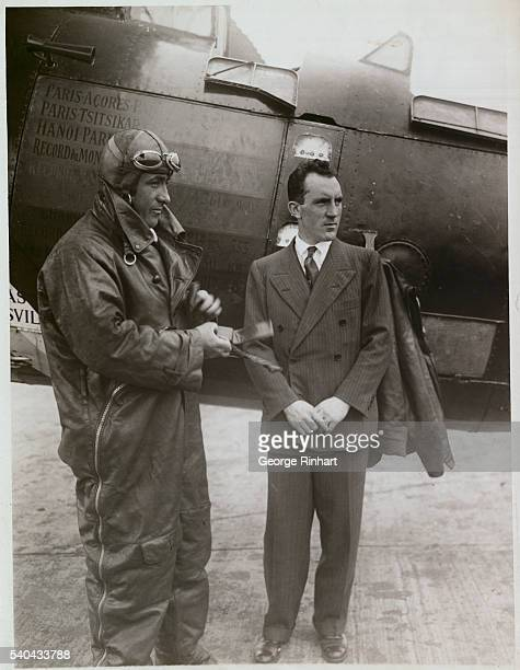 Valley Stream Long Island French Ocean Flyers Start Good Will Tour Of The U S Photo Shows Capt Dieudonne Coste and Lieut Maurice Bellonte just before...