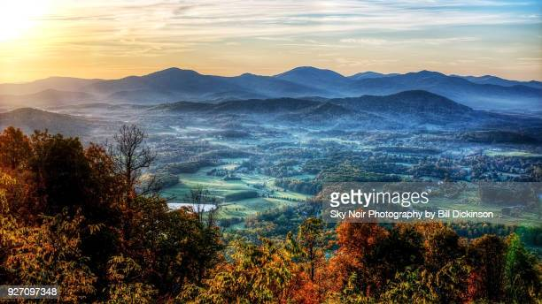 valley sunrise from the blue ridge mountains - virginia stock pictures, royalty-free photos & images