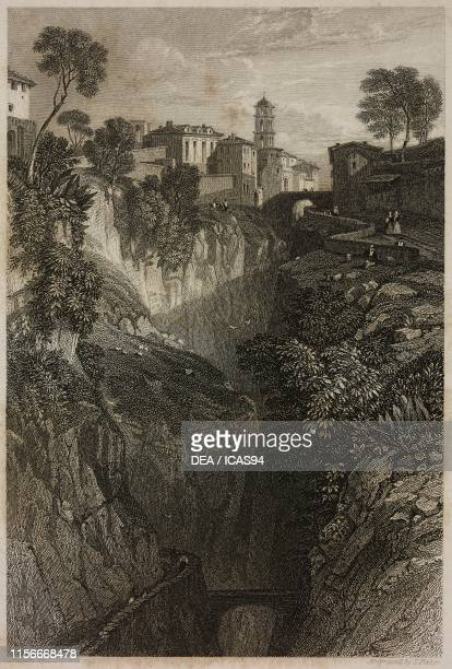 Vallone dei Mulini Sorrento Campania Italy engraving by Fisher from a drawing by Harding from Rome and Southern Italy BelinLeprieur Publishers Paris...