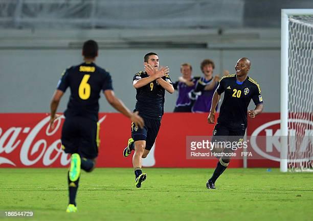 Valmir Berisha of Sweden celebrates scoring the second goal during the FIFA U-17 World Cup UAE 2013 Quarter Final match between Honduras and Sweden...
