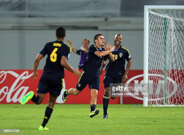Valmir Berisha of Sweden celebrates scoring the second goal during the FIFA U17 World Cup UAE 2013 Quarter Final match between Honduras and Sweden at...