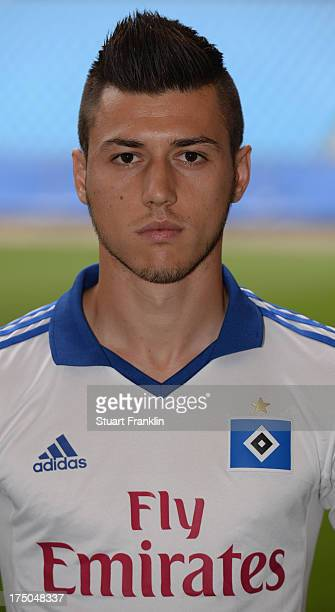 Valmir Nafiu of Hamburg poses for a photograph during the official Hamburger SV team presentation on July 30 2013 in Hamburg Germany