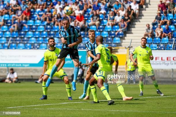 Valmir Sulejmani of Waldhof Mannheim hits the goal with header during the 3. Liga match between SV Waldhof Mannheim and MSV Duisburg at...
