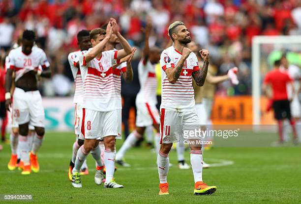 Valon Behrami and witzerland players celebrate their 10 win in the UEFA EURO 2016 Group A match between Albania and Switzerland at Stade...
