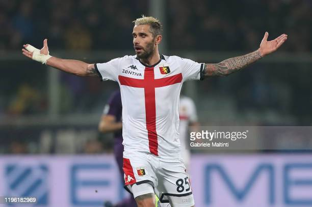 Valon Behrami of Genoa CFC reacts during the Serie A match between ACF Fiorentina and Genoa CFC at Stadio Artemio Franchi on January 25 2020 in...