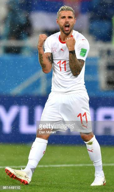 Valon Behrami of Switzerland celebrates victory following the 2018 FIFA World Cup Russia group E match between Serbia and Switzerland at Kaliningrad...