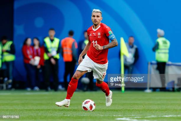Valon Behrami of Switzerland controls the ball during the 2018 FIFA World Cup Russia Round of 16 match between Sweden and Switzerland at Saint...