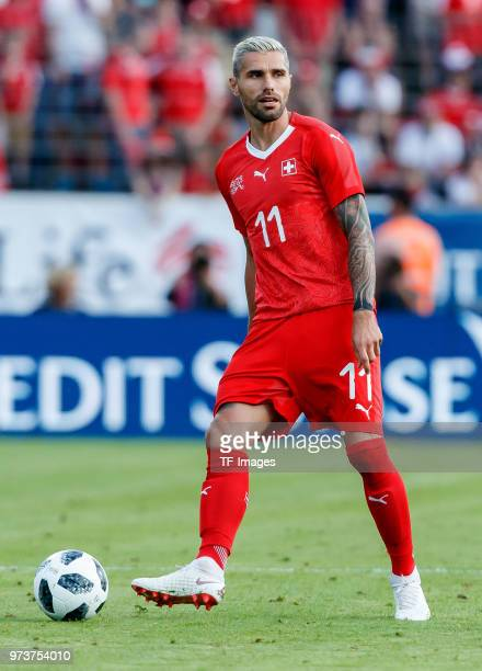 Valon Behrami of Switzerland controls the ball during the international friendly match between Switzerland and Japan at the Stadium Cornaredo on June...