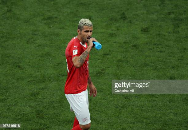 Valon Behrami of Switzerland has a drink during the 2018 FIFA World Cup Russia group E match between Brazil and Switzerland at Rostov Arena on June...