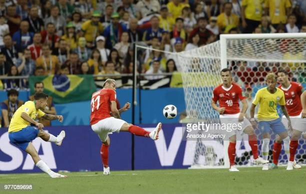 Valon Behrami of Switzerland in action during 2018 FIFA World Cup Russia Group E match between Brazil and Switzerland at Rostov Arena in RostovonDon...