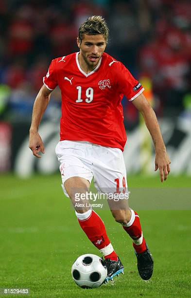 Valon Behrami of Switzerland in action during the UEFA EURO 2008 Group A match between Switzerland and Turkey at St JakobPark on June 11 2008 in...