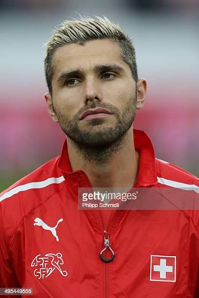 Valon Behrami of Switzerland lines up during the international friendly match between Switzerland and Peru at Swissporarena on June 3 2014 in Lucerne...