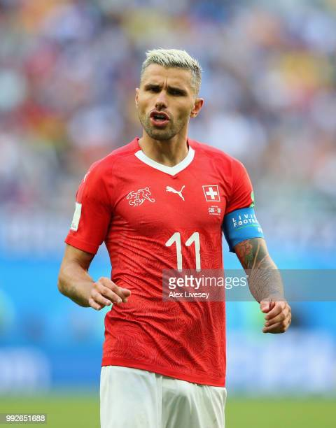 Valon Behrami of Switzerland looks on during the 2018 FIFA World Cup Russia Round of 16 match between Sweden and Switzerland at Saint Petersburg...