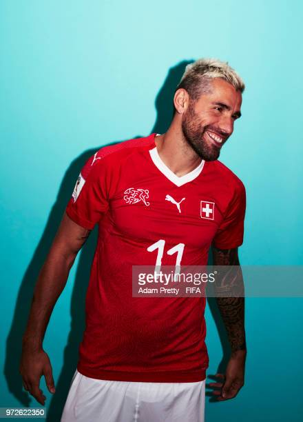 Valon Behrami of Switzerland poses for a portrait during the official FIFA World Cup 2018 portrait session at the Lada Resort on June 12 2018 in...