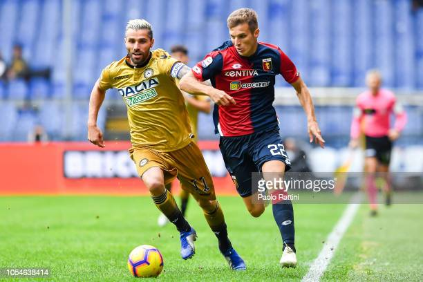 Valon Behrami of Udinese and Darko Lazovic of Genoa vie for the ball during the Serie A match between Genoa CFC and Udinese at Stadio Luigi Ferraris...