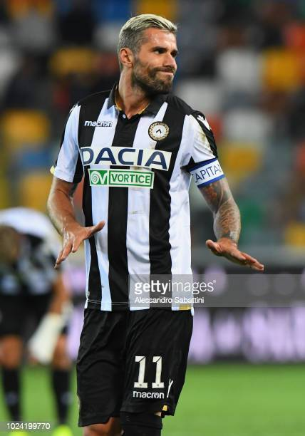 Valon Behrami of Udinese Calcio gestures during the serie A match between Udinese and UC Sampdoria at Stadio Friuli on August 26 2018 in Udine Italy