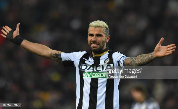Valon Behrami of Udinese Calcio reacts during the Serie A match between Udinese and Cagliari at Stadio Friuli on December 29 2018 in Udine Italy