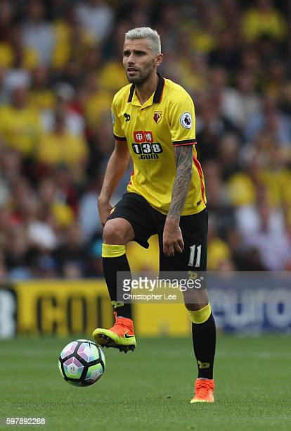 Valon Behrami of Watford in action during the Premier League match between Watford and Arsenal at Vicarage Road on August 27 2016 in Watford England