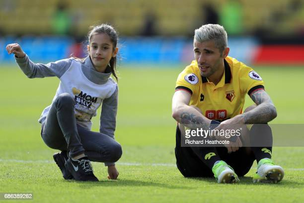 Valon Behrami of Watford with his daughter Sofia after the Premier League match between Watford and Manchester City at Vicarage Road on May 21 2017...