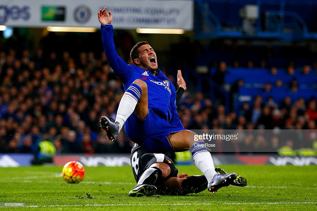 Valon Berami of Watford fouls Eden Hazard of Chelsea and concedes a penalty during the Barclays Premier League match between Chelsea and Watford at Stamford Bridge on December 26, 2015 in London, England.