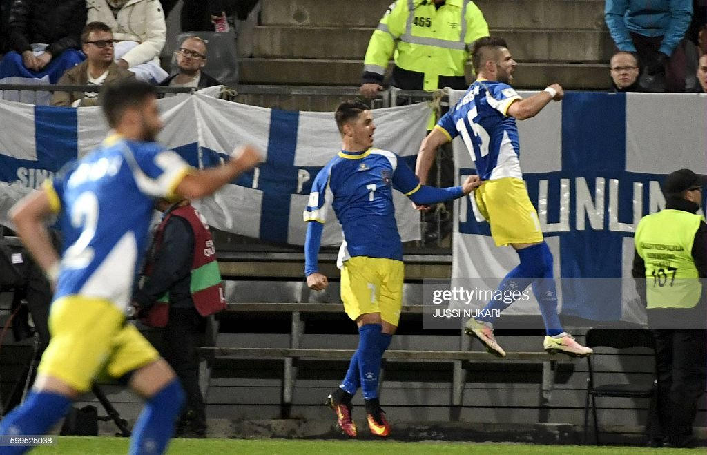 Valon Berisha of Kosovo (15) jubitales after scoring 1-1 against Finland during the WC 2018 football qualification match between (group I) Finland vs Kosovo in Turku on September 5, 2016. / AFP / Lehtikuva / Jussi Nukari / Finland OUT