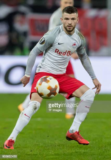 Valon Berisha of Salzburg controls the ball during UEFA Europa League Round of 16 second leg match between FC Red Bull Salzburg and Borussia Dortmund...